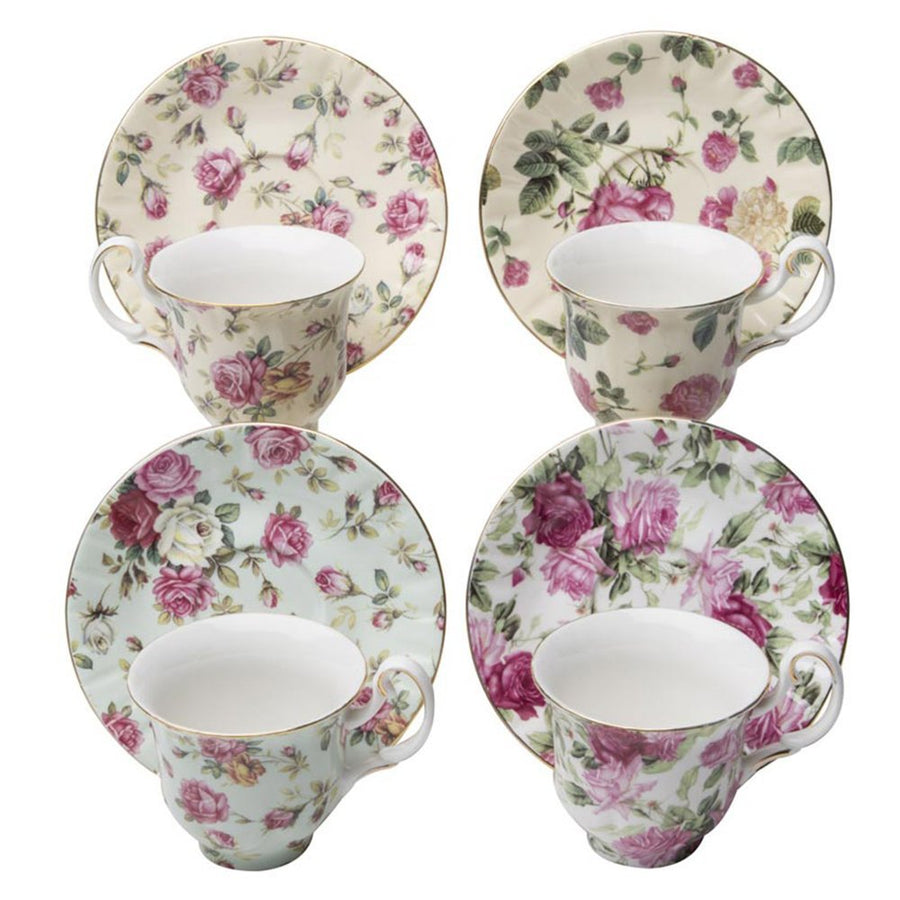 Gracie China Rose Chintz Porcelain Espresso Cup & Saucer 3-Ounce Set of 4 Assorted with Gold Trim - LaPrima Shops ®