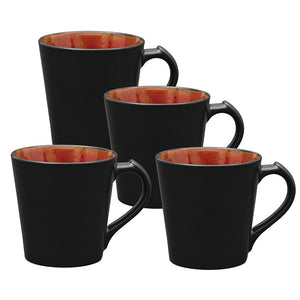 Culver VOG Ceramic Mug, 14-Ounce, Black Red, Set of 4 - LaPrima Shops ®