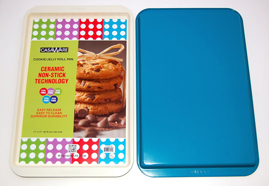 "CasaWare Ceramic Coated NonStick Cookie/Jelly Roll Pan 11""x17"", Cream/Blue - LaPrima Shops ®"