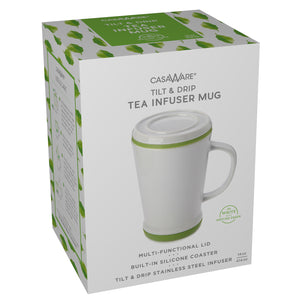 casaWare Tilt and Drip Tea Infuser Ceramic Mug, 14-Ounce (White with Matcha Green) - LaPrima Shops ®
