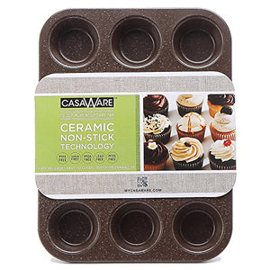 casaWare Ceramic Coated NonStick 12 Cup Muffin Pan (Brown Granite) - LaPrima Shops ®