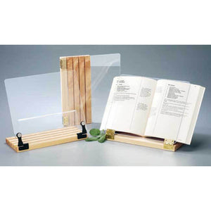 Original Hinged Cookbook Holder, Acrylic Shield w/Wood Base and Brass Plated Hinges, Made in the USA - LaPrima Shops ®
