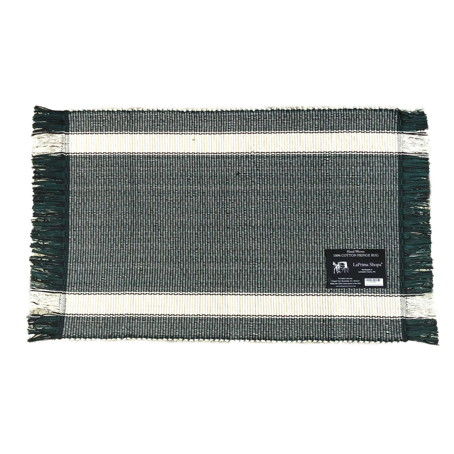 Hand Woven 100-Percent Cotton Fringe Area Rug 24x36-Inches (Hunter Green/White Stripe) - LaPrima Shops ®