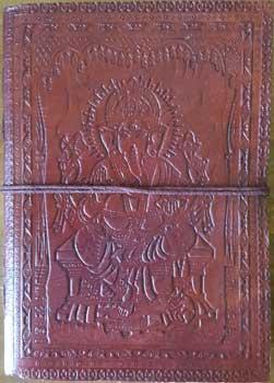 "5"" X 7"" Ganesh Leather Blank Book W-cord"