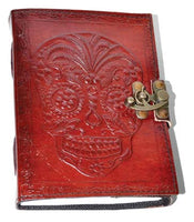 Day Of The Dead Leather Blank Book W- Latch