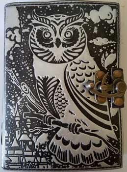 Black- Silver Owl Leather Blank Book W- Latch