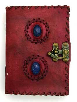 2 Lapis Stones Leather Blank Book W- Latch