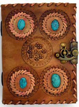 4 Turquoise Stones Leather Blank Book W- Latch