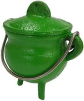 "3"" Green Cast Iron Cauldron - Lady Adrienne's Cauldron - 2"