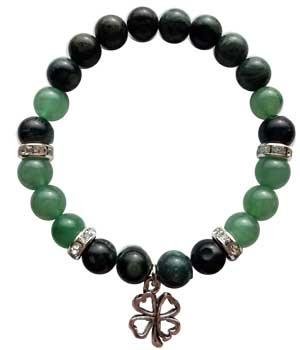 8mm Kambaba Jasper- Green Aventurine With Lucky Clover