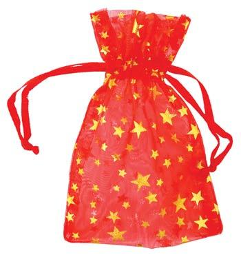 "2 3-4"" X 3"" Red Organza W- Gold Stars"