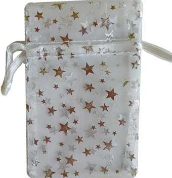 "2 3-4"" X 3"" White Organza Pouch With Silver Stars"
