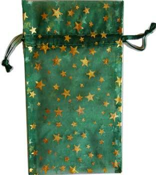 "3"" X 4"" Green Organza Pouch With Gold Stars"