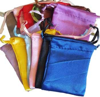 "12 Pk 2 3-4"" X 3"" Satin Pouches Mixed Colors"