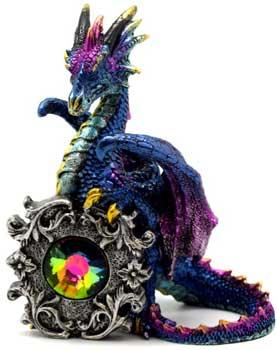 "5 1-4"" Dragon With Multi Colored Crystal"