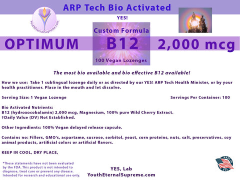 Vitamin B12 ARP Tech Bio Activated (as hydroxocobalamin) 100 Vegan LOZENGES (Sublingual) 2,000 mcg