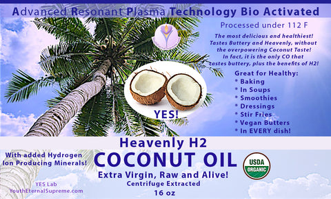 H2 Medicinal Coconut Oil 1 lb (ARP Tech Enhanced, Hydrogen Reinforced, Certified Organic, 100% RAW, Centrifuge Processed)