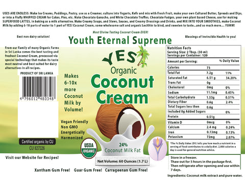 Certified Organic YES! Coconut Cream (Frozen) 240 Fl.oz (4 Pack)