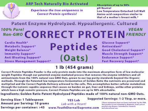 CORRECT PROTEIN PEPTIDES-CELL RESTORE (from 100% Pure Oats) Powder (Hypoallergenic) 1 lb (454 grams)