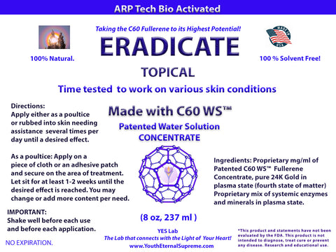 ERADICATE Topical 8 oz (made with C60 WS™)