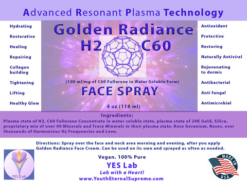 Golden Radiance H2 C60 Fullerene FACE SPRAY 4 oz (118 ml)