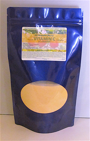 H2 Acerola Cherry Vitamin C Complex (Bio Activated, Hydrogen Ion Reinforced) 1lb (454 grams) 16 oz