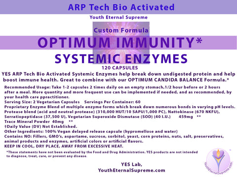Optimum Immunity ARP Tech Bio Activated Systemic Enzymes (Vegan 120 caps)