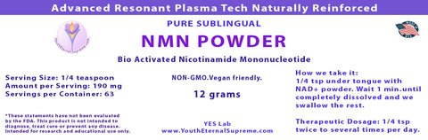 Bio Active NMN (12 grams) Certified 99.9% pure Nicotinamide Mononucleotide Powder