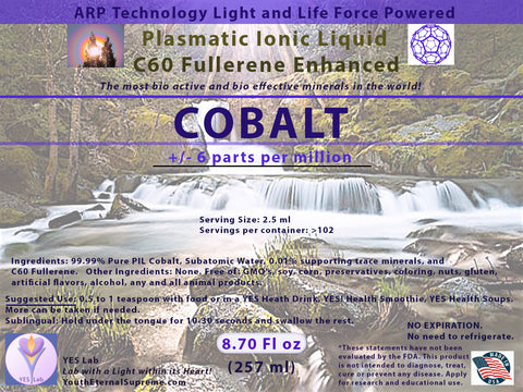 COBALT Plasmatic Ionic Mineral-C60 Fullerene Enhanced (8.70 oz) 257ml