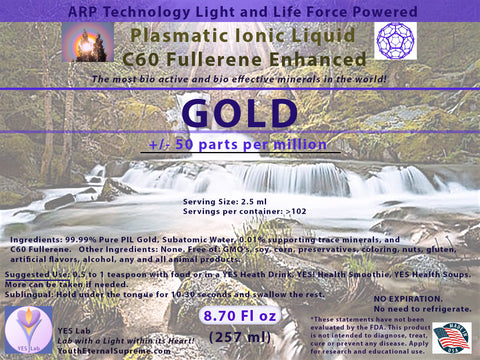 GOLD Plasmatic Ionic Mineral-C60 Fullerene Enhanced (8.70 oz) 257ml