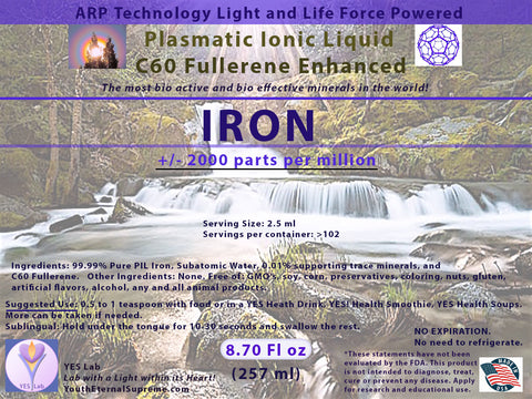 IRON Plasmatic Ionic Mineral-C60 Fullerene Enhanced (8.70 oz) 257ml
