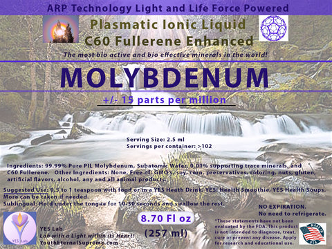 MOLYBDENUM Plasmatic Ionic Mineral-C60 Fullerene Enhanced (8.70 oz) 257ml