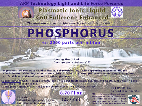 PHOSPHORUS Plasmatic Ionic Mineral-C60 Fullerene Enhanced (8.70 oz) 257ml