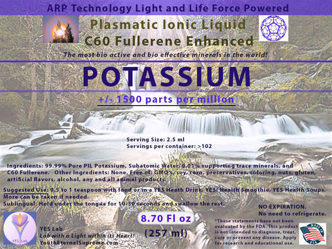 POTASSIUM Plasmatic Ionic Mineral-C60 Fullerene Enhanced (8.70 oz) 257ml