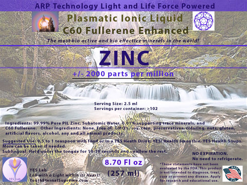 ZINC Plasmatic Ionic Mineral-C60 Fullerene Enhanced (8.70 oz) 257ml