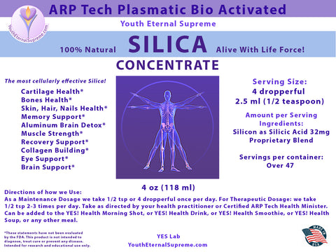Silica CONCENTRATE 4 oz (ARP Tech Bio Activated Plasmatic and ALIVE)