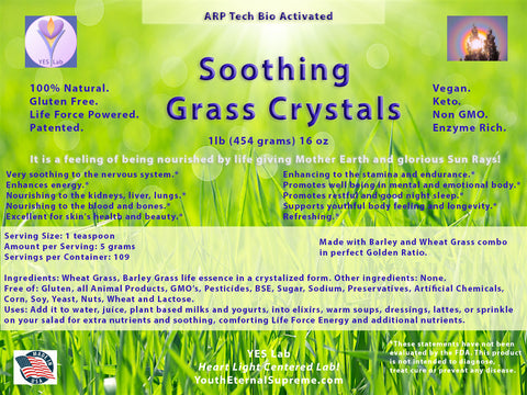 Soothing Grass Crystals (Barley and Wheat Grass) 1 lb 454 grams