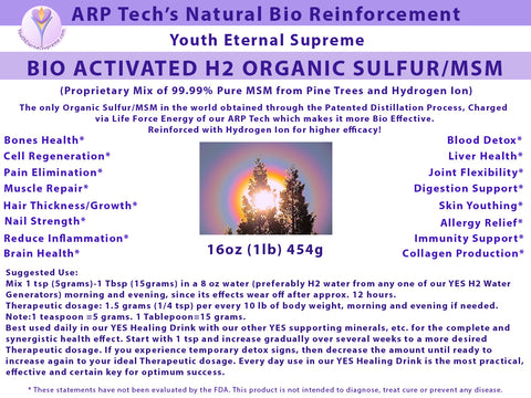 H2 Organic Sulfur/MSM (Bio Activated, Hydrogen Ion Reinforced) 1lb (454 grams) 16 oz