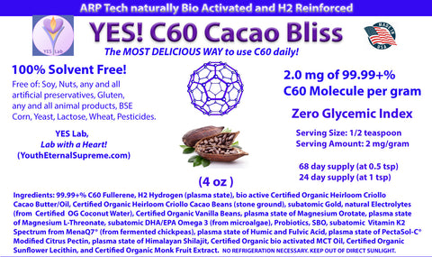 YES! C60 CACAO BLISS (4 oz) 99.99+% C60 Fullerene (2 mg per gram) 100% Solvent Free, Hydrogen  H2 Reinforced