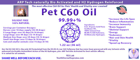 PET C60 Oil CONCENTRATE  99.99+% SOLVENT FREE 1.22 oz (36 ml) H2 Reinforced and ARP Tech Bio Activated