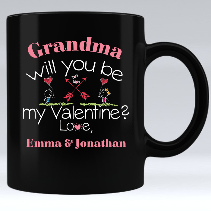 Grandma Be My Valentine Personalized Mug - Aqua Adventurer
