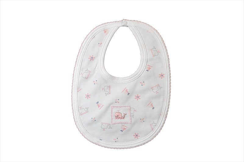 Baby Girl's Pink Whale Print Bib - Little Threads Inc. Children's Clothing