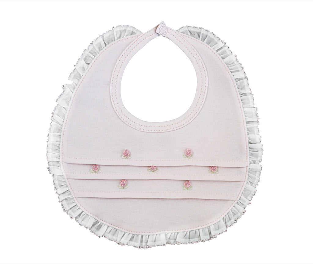 Baby Girl's Pink Rosebuds with White Trim Bib - Little Threads Inc. Children's Clothing