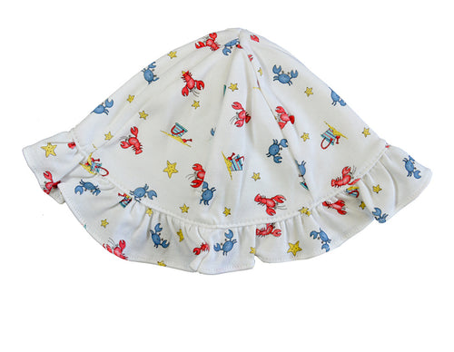Crabs  and Lobster print baby sunhat
