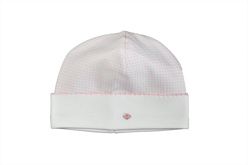 Pink Checkered Rose Girl Hat - Little Threads Inc. Children's Clothing