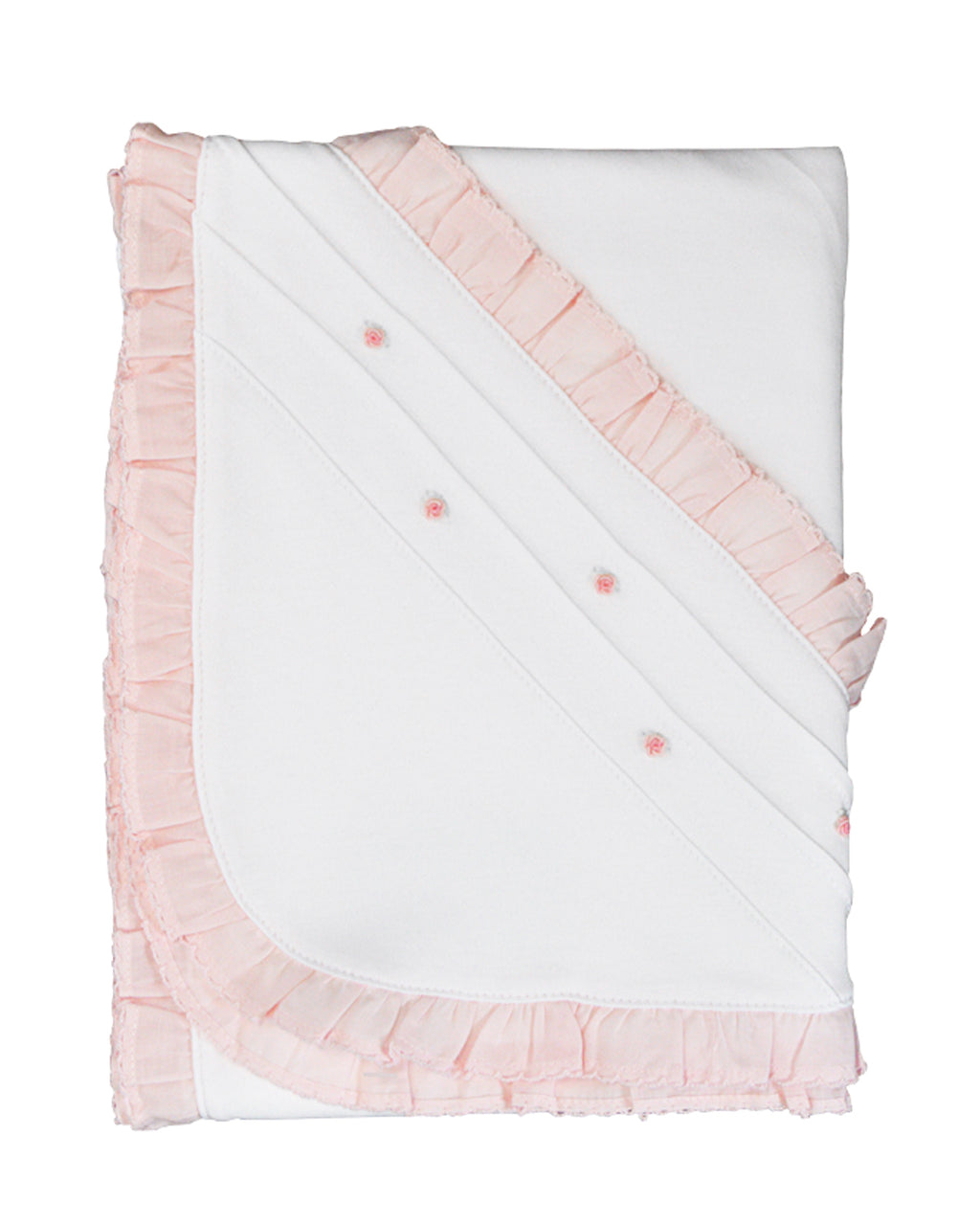 Pink ruffle baby girls blanket with ruffle - Little Threads Inc. Children's Clothing