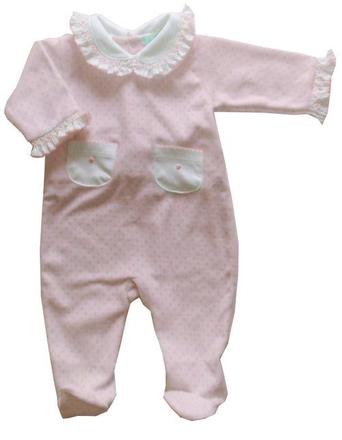 Pink Dot Smocked Velour Footie
