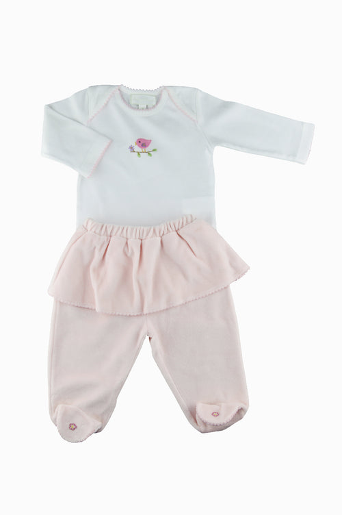 Knit Top Onesie With Velour Footie Pants and Hat