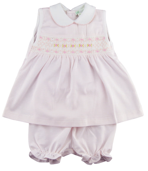 Hand Smocked Pima Cotton Baby Girl Dress Set