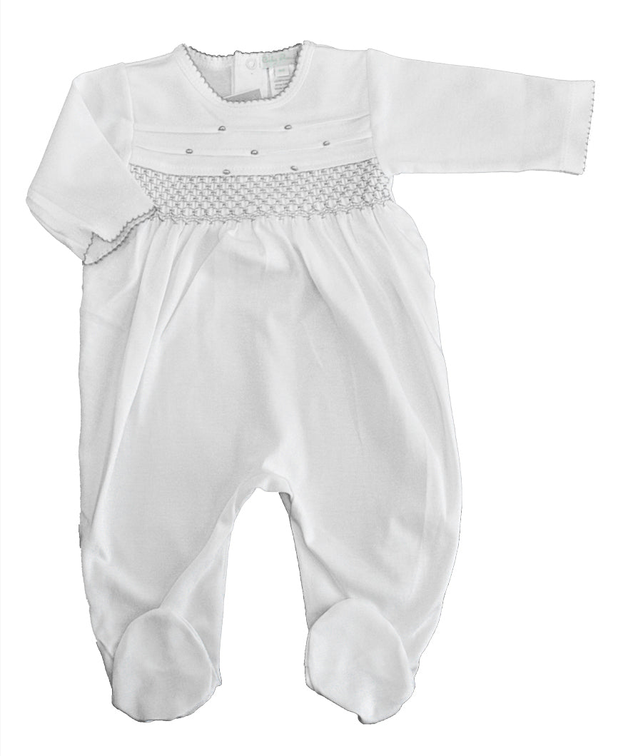 Baby Threads White/ grey hand smocked footie - Little Threads Inc. Children's Clothing